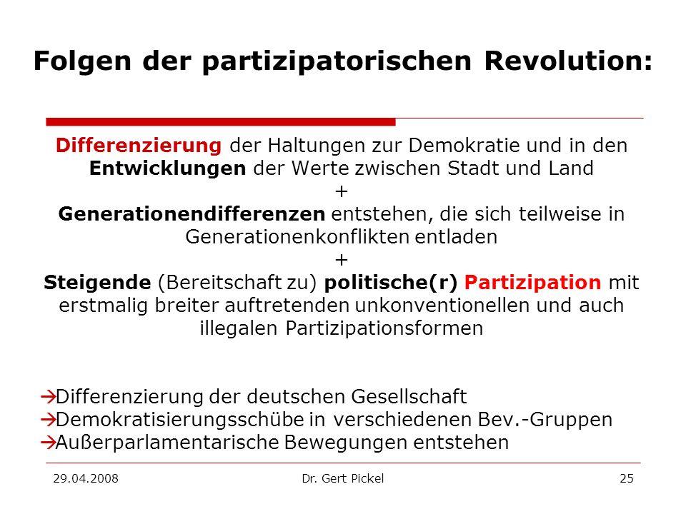29.04.2008Dr. Gert Pickel25 Folgen der partizipatorischen Revolution: Differenzierung der Haltungen zur Demokratie und in den Entwicklungen der Werte