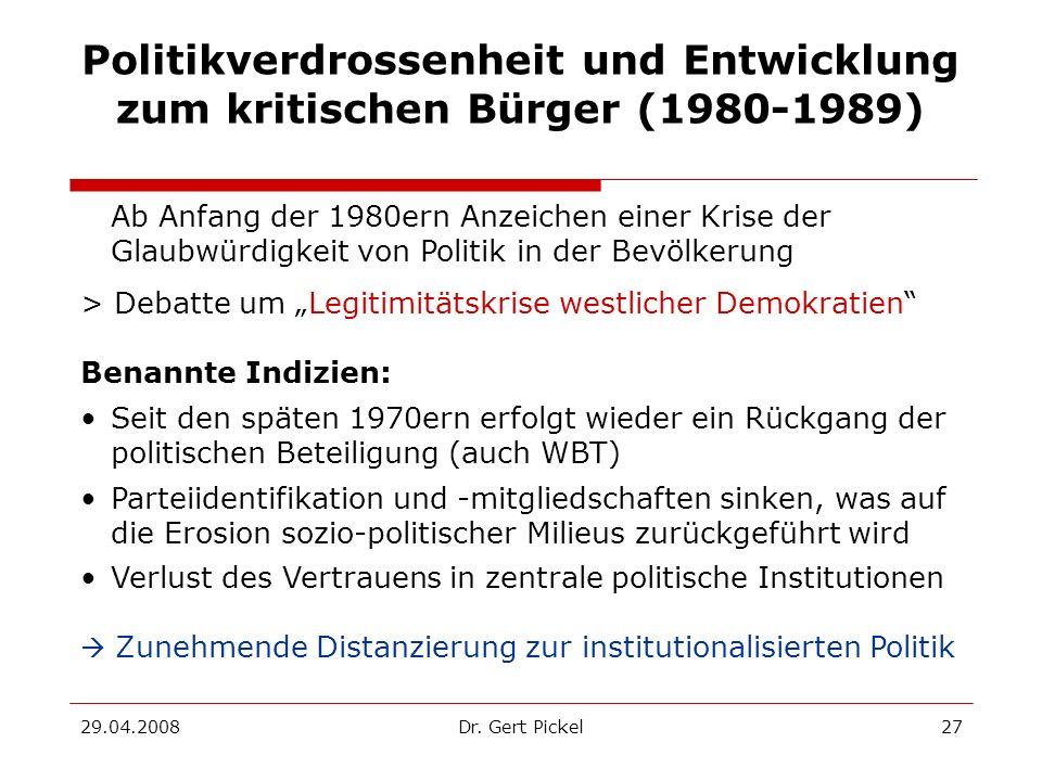 29.04.2008Dr. Gert Pickel27 Politikverdrossenheit und Entwicklung zum kritischen Bürger (1980-1989) Ab Anfang der 1980ern Anzeichen einer Krise der Gl