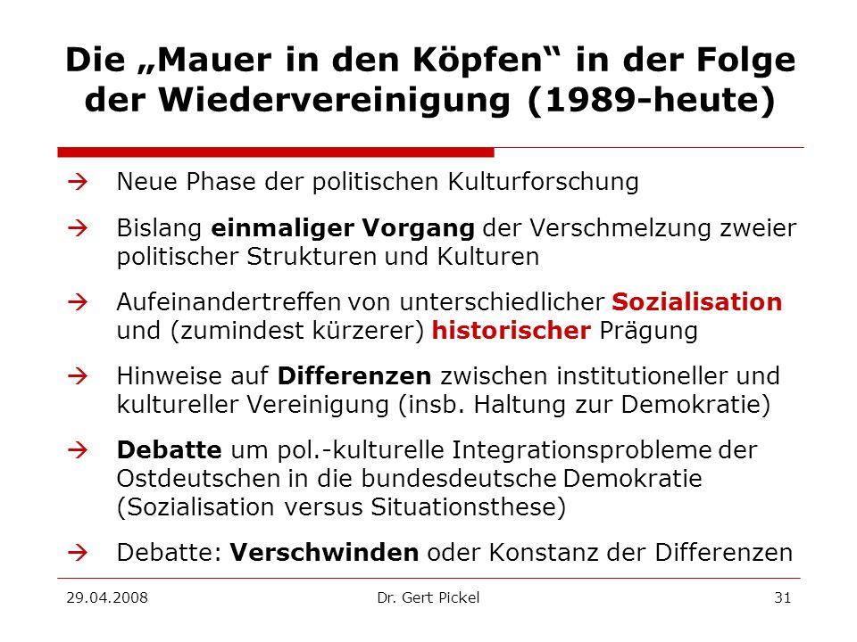 29.04.2008Dr. Gert Pickel31 Die Mauer in den Köpfen in der Folge der Wiedervereinigung (1989-heute) Neue Phase der politischen Kulturforschung Bislang