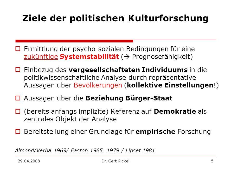 29.04.2008Dr. Gert Pickel5 Ziele der politischen Kulturforschung Ermittlung der psycho-sozialen Bedingungen für eine zukünftige Systemstabilität ( Pro
