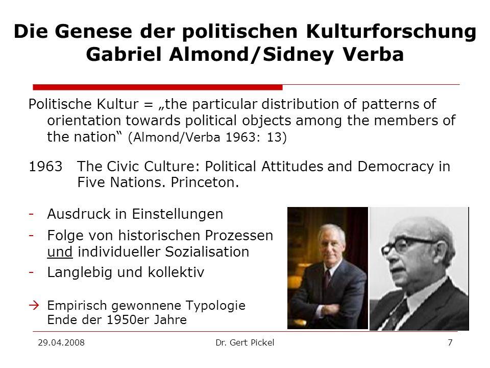 29.04.2008Dr. Gert Pickel7 Die Genese der politischen Kulturforschung Gabriel Almond/Sidney Verba Politische Kultur = the particular distribution of p