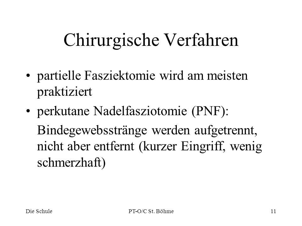 Chirurgische Verfahren partielle Fasziektomie wird am meisten praktiziert perkutane Nadelfasziotomie (PNF): Bindegewebsstränge werden aufgetrennt, nic