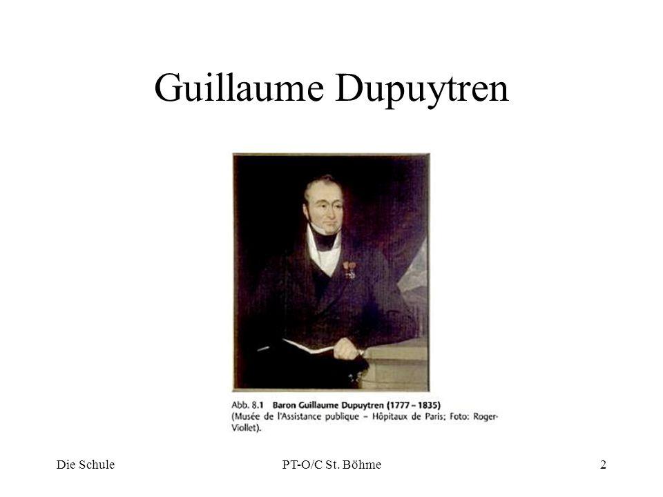Biographie Guillaume Dupuytren (1777-1835) Medizinstudium Dozent und Prosektor Chefchirurg am Hotel-Dieux (1815) Leibarzt von König Ludwig XVIII 1831 erstmalige Vorlesung über die Erkrankung Die SchulePT-O/C St.