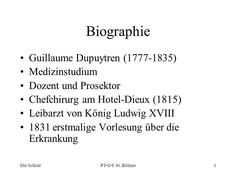 Biographie Guillaume Dupuytren (1777-1835) Medizinstudium Dozent und Prosektor Chefchirurg am Hotel-Dieux (1815) Leibarzt von König Ludwig XVIII 1831