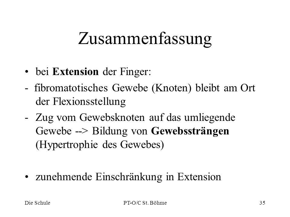 Zusammenfassung bei Extension der Finger: - fibromatotisches Gewebe (Knoten) bleibt am Ort der Flexionsstellung -Zug vom Gewebsknoten auf das umliegen