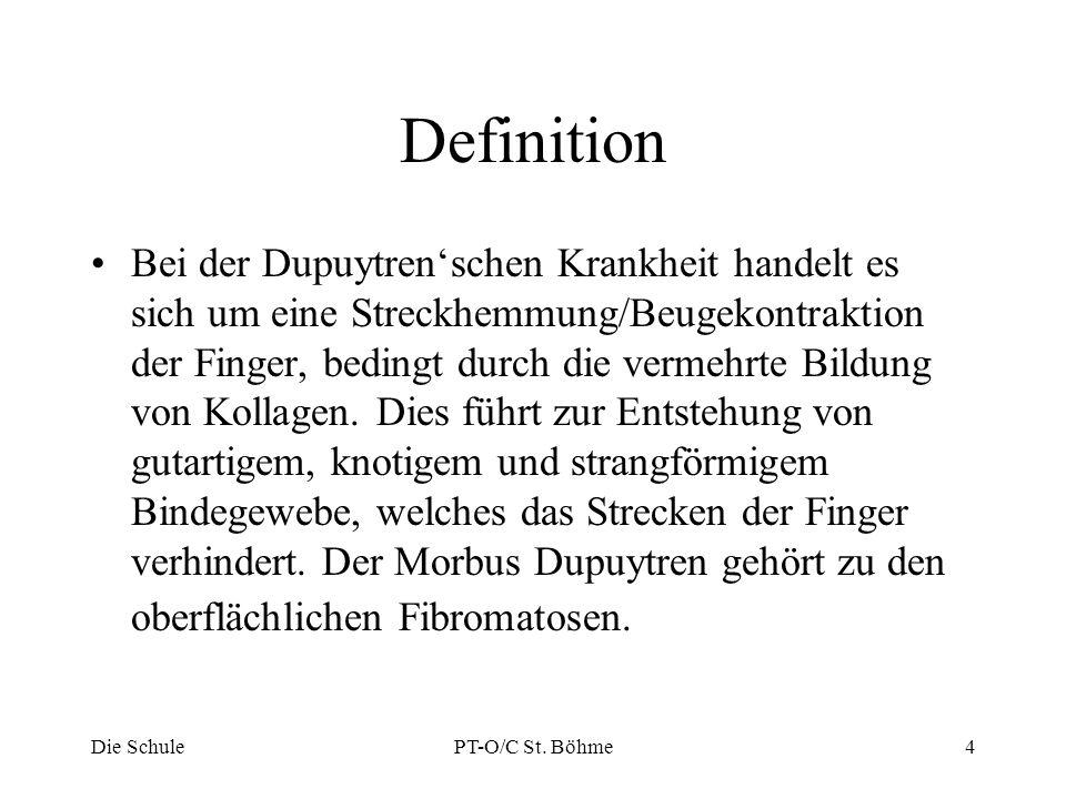 Zusammenfassung bei Extension der Finger: - fibromatotisches Gewebe (Knoten) bleibt am Ort der Flexionsstellung -Zug vom Gewebsknoten auf das umliegende Gewebe --> Bildung von Gewebssträngen (Hypertrophie des Gewebes) zunehmende Einschränkung in Extension Die SchulePT-O/C St.