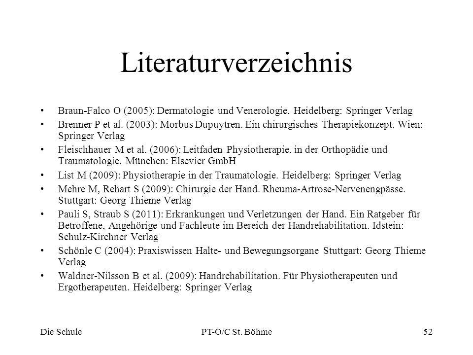 Literaturverzeichnis Braun-Falco O (2005): Dermatologie und Venerologie. Heidelberg: Springer Verlag Brenner P et al. (2003): Morbus Dupuytren. Ein ch