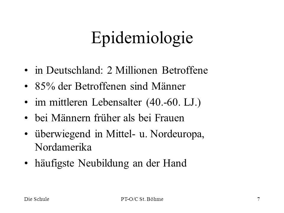 Epidemiologie in Deutschland: 2 Millionen Betroffene 85% der Betroffenen sind Männer im mittleren Lebensalter (40.-60. LJ.) bei Männern früher als bei