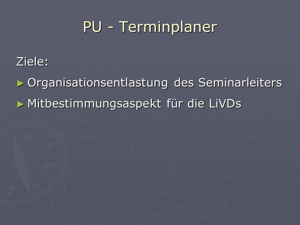 PU - Terminplaner Menüpunkt: Informationen