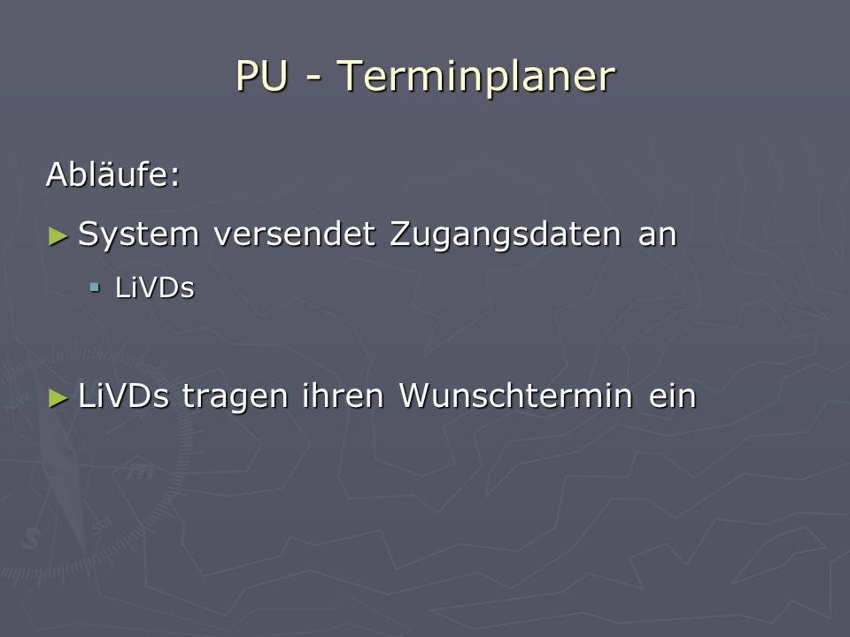 Abläufe: System versendet Zugangsdaten an LiVDs LiVDs tragen ihren Wunschtermin ein