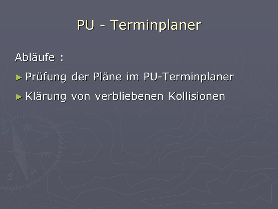 PU - Terminplaner Abläufe : Prüfung der Pläne im PU-Terminplaner Klärung von verbliebenen Kollisionen