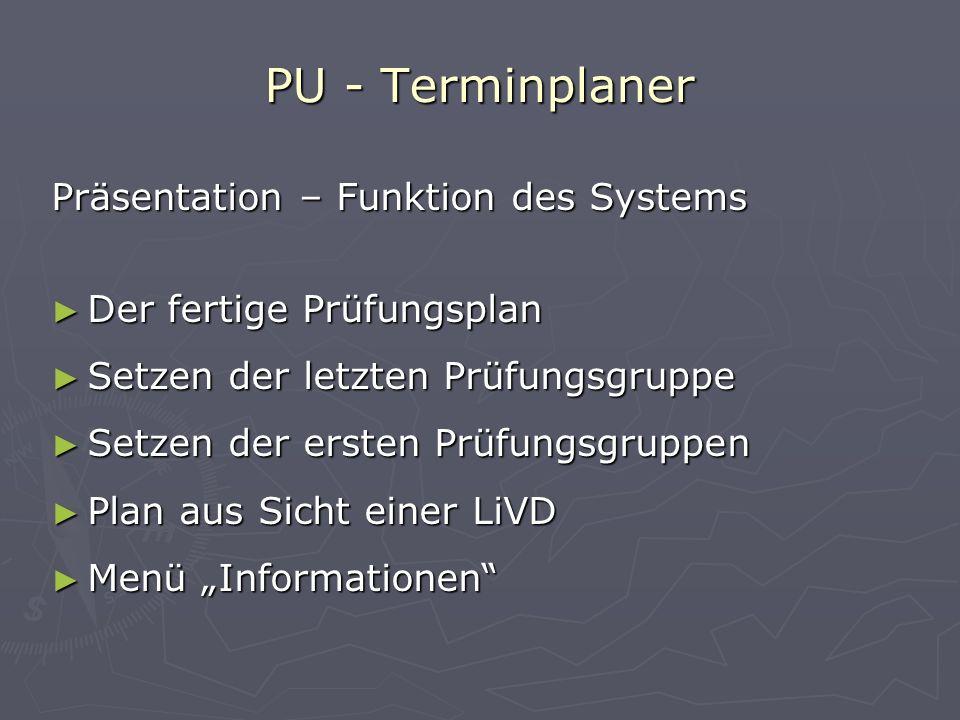 PU - Terminplaner Präsentation – Funktion des Systems Der fertige Prüfungsplan Setzen der letzten Prüfungsgruppe Setzen der ersten Prüfungsgruppen Pla