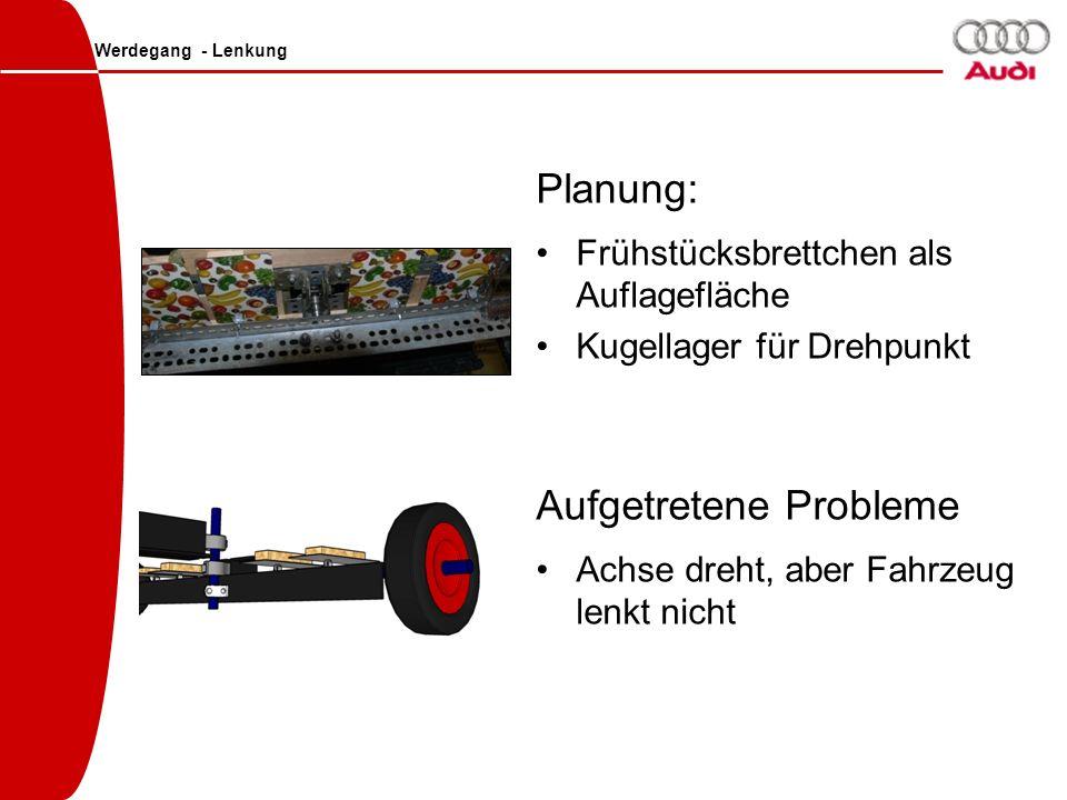 Werdegang - Lenkung Planung: Frühstücksbrettchen als Auflagefläche Kugellager für Drehpunkt Aufgetretene Probleme Achse dreht, aber Fahrzeug lenkt nic