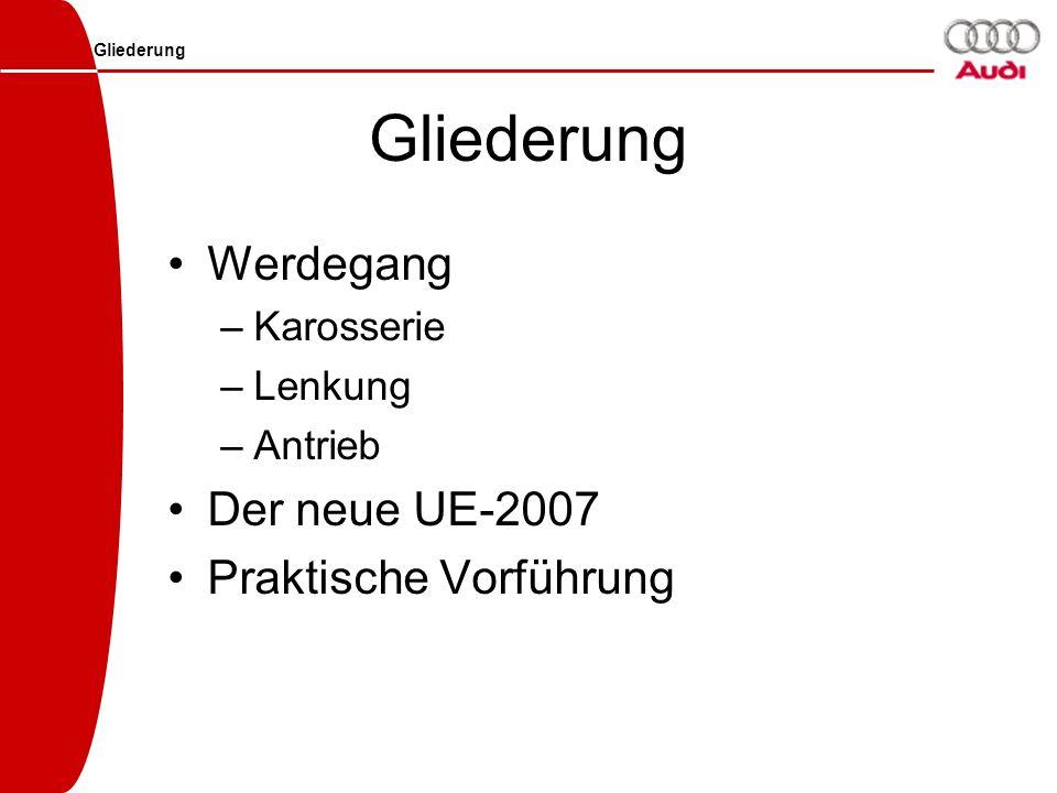 Gliederung Werdegang –Karosserie –Lenkung –Antrieb Der neue UE-2007 Praktische Vorführung Gliederung