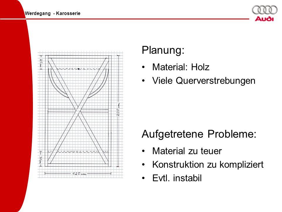 Planung: Material: Holz Viele Querverstrebungen Werdegang - Karosserie Aufgetretene Probleme: Material zu teuer Konstruktion zu kompliziert Evtl. inst