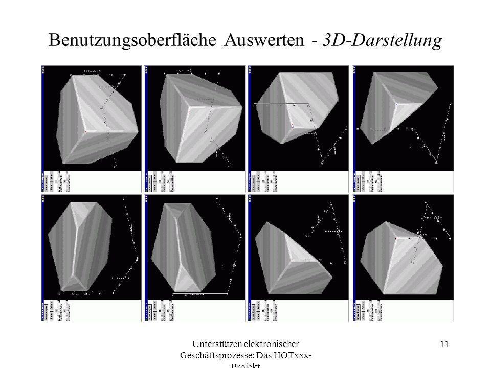 Unterstützen elektronischer Geschäftsprozesse: Das HOTxxx- Projekt 11 Benutzungsoberfläche Auswerten - 3D-Darstellung