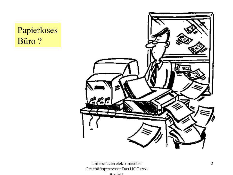 Unterstützen elektronischer Geschäftsprozesse: Das HOTxxx- Projekt 3 Umfeld Interessiert an Business-to-business (B2B) für KMU Asynchrone Kommunikation im Geschäftsleben Elektronische Post nicht ideal Schwerpunkt Geschäftsanbahnung (und danach organisatorische Weiterführung/-betreuung); sich temporär findende, virtuelle Gruppen Fehlendes integrierendes Bearbeitungs- und Prozessmodell Geschäftsvorfall zusammengefaßt in einem elektronisch kommunizierten und archivierten Dokument Arbeiten von Doktoranden und Diplomanden, das HOTxxx-Projekt an meinem Lehrstuhl