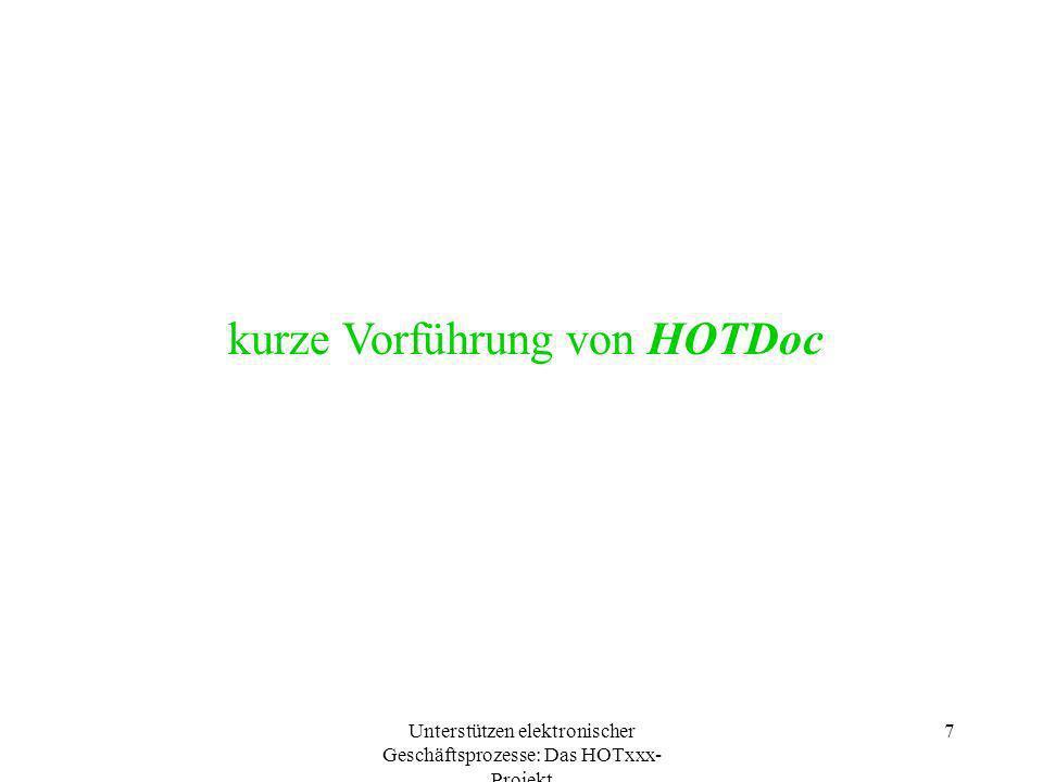 Unterstützen elektronischer Geschäftsprozesse: Das HOTxxx- Projekt 7 kurze Vorführung von HOTDoc