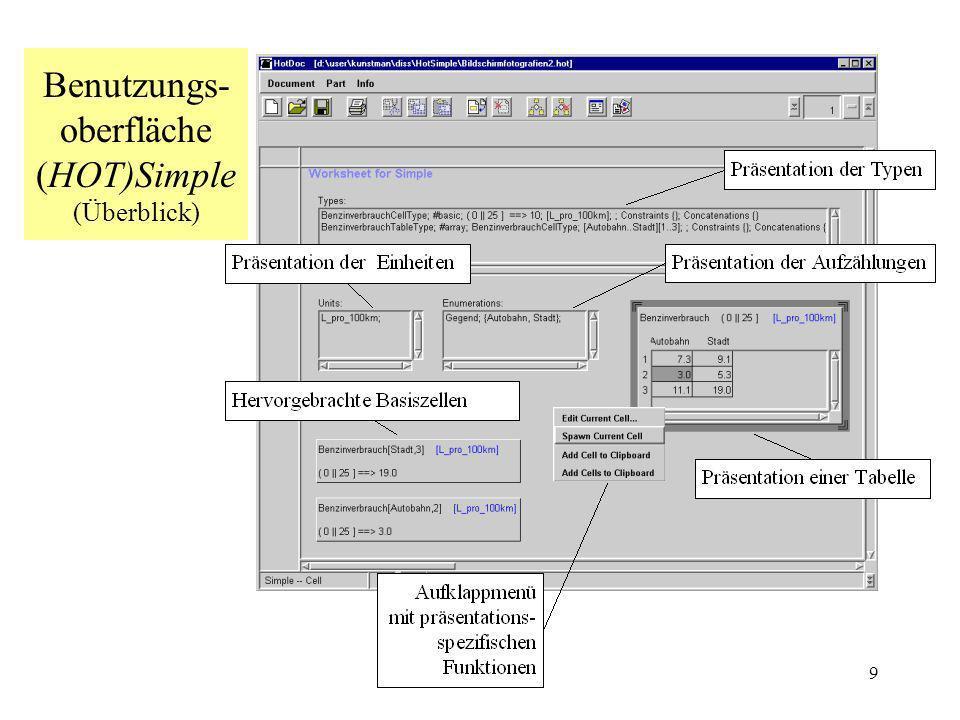 9 Benutzungs- oberfläche (HOT)Simple (Überblick)