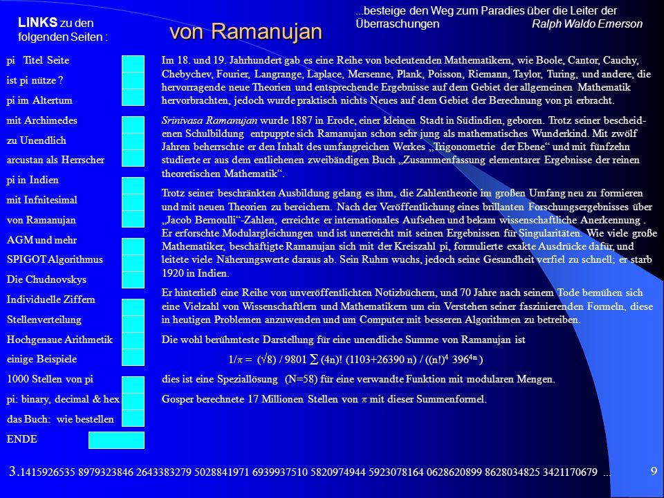 pi Titel Seite ist pi nütze ? pi im Altertum mit Archimedes zu Unendlich arcustan als Herrscher pi in Indien mit Infnitesimal von Ramanujan AGM und me