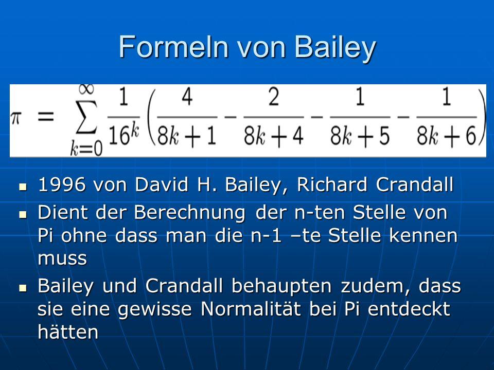 Formeln von Bailey 1996 von David H. Bailey, Richard Crandall 1996 von David H. Bailey, Richard Crandall Dient der Berechnung der n-ten Stelle von Pi