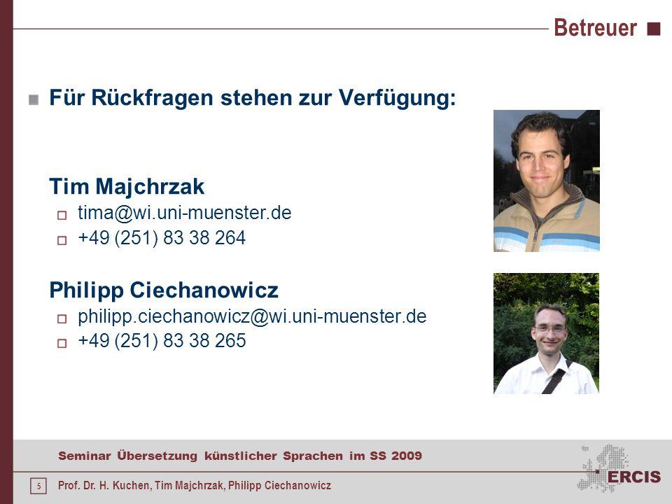 5 Seminar Übersetzung künstlicher Sprachen im SS 2009 Prof.