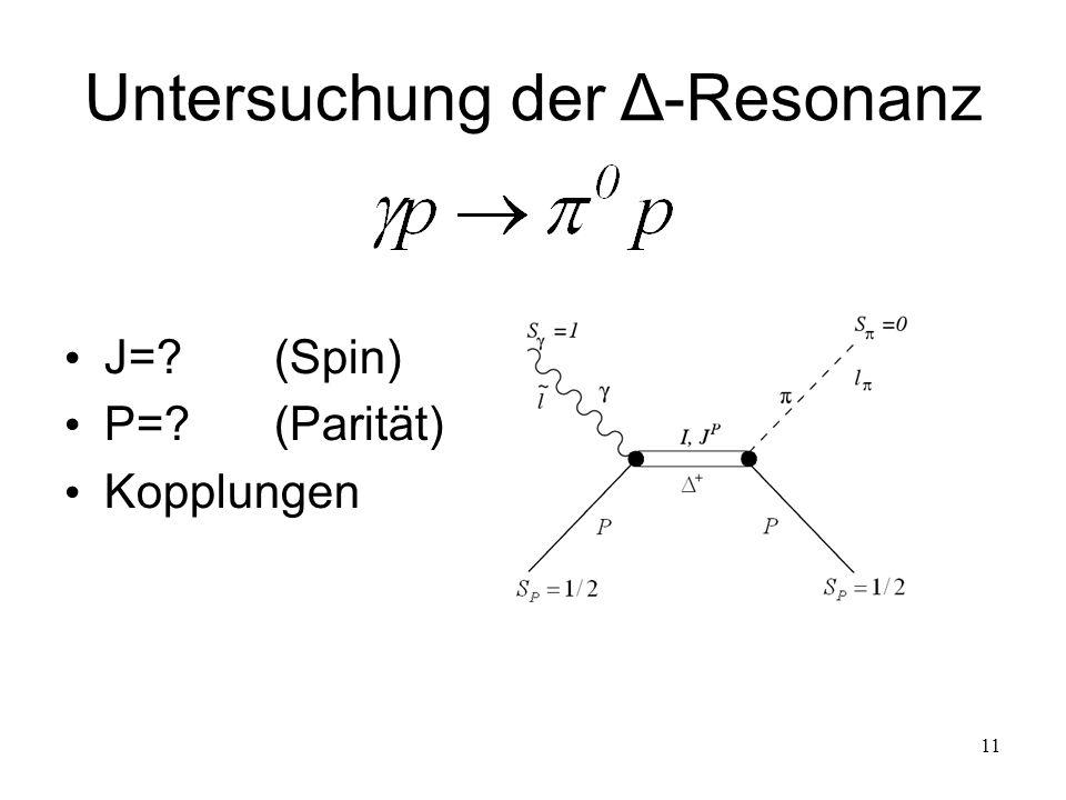 11 Untersuchung der Δ-Resonanz J=?(Spin) P=?(Parität) Kopplungen