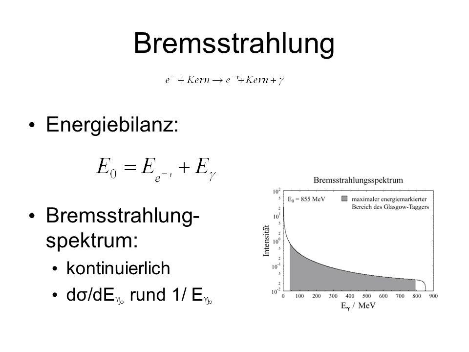 Bremsstrahlung Energiebilanz: Bremsstrahlung- spektrum: kontinuierlich dσ/dE rund 1/ E