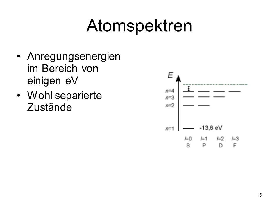 5 Atomspektren Anregungsenergien im Bereich von einigen eV Wohl separierte Zustände