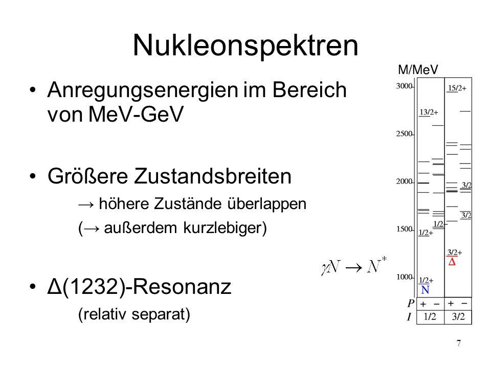 7 Nukleonspektren Anregungsenergien im Bereich von MeV-GeV Größere Zustandsbreiten höhere Zustände überlappen ( außerdem kurzlebiger) Δ(1232)-Resonanz