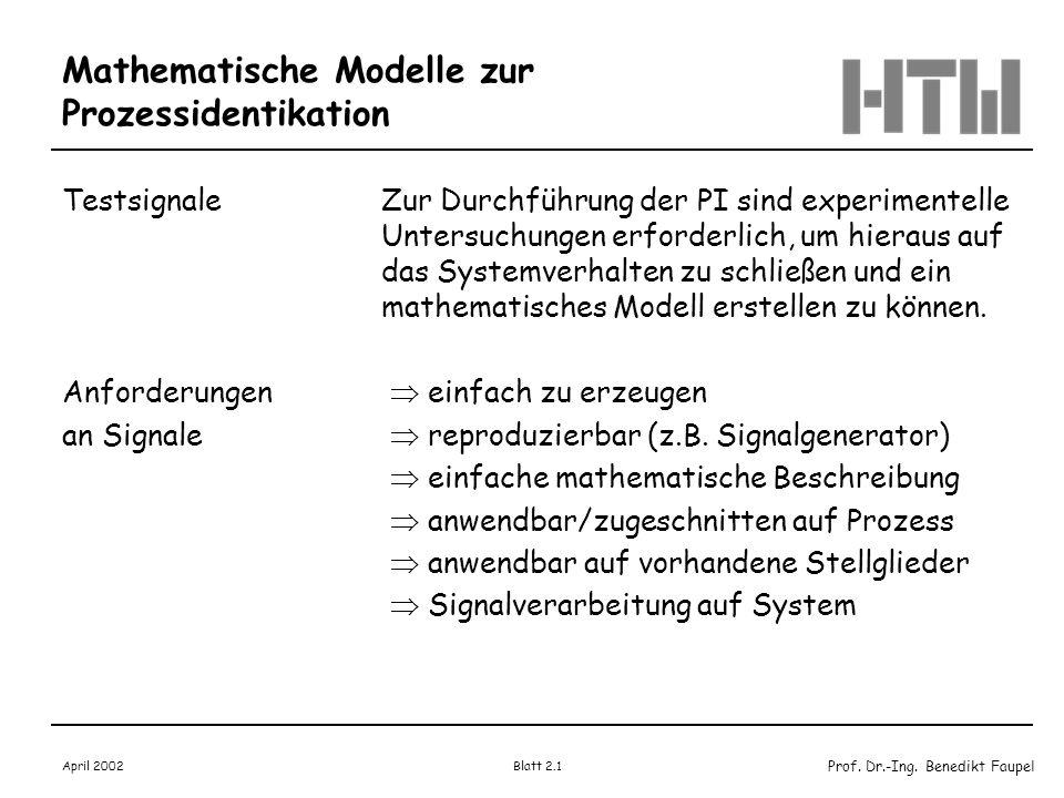 Prof. Dr.-Ing. Benedikt Faupel April 2002 Blatt 2.1 Mathematische Modelle zur Prozessidentikation TestsignaleZur Durchführung der PI sind experimentel