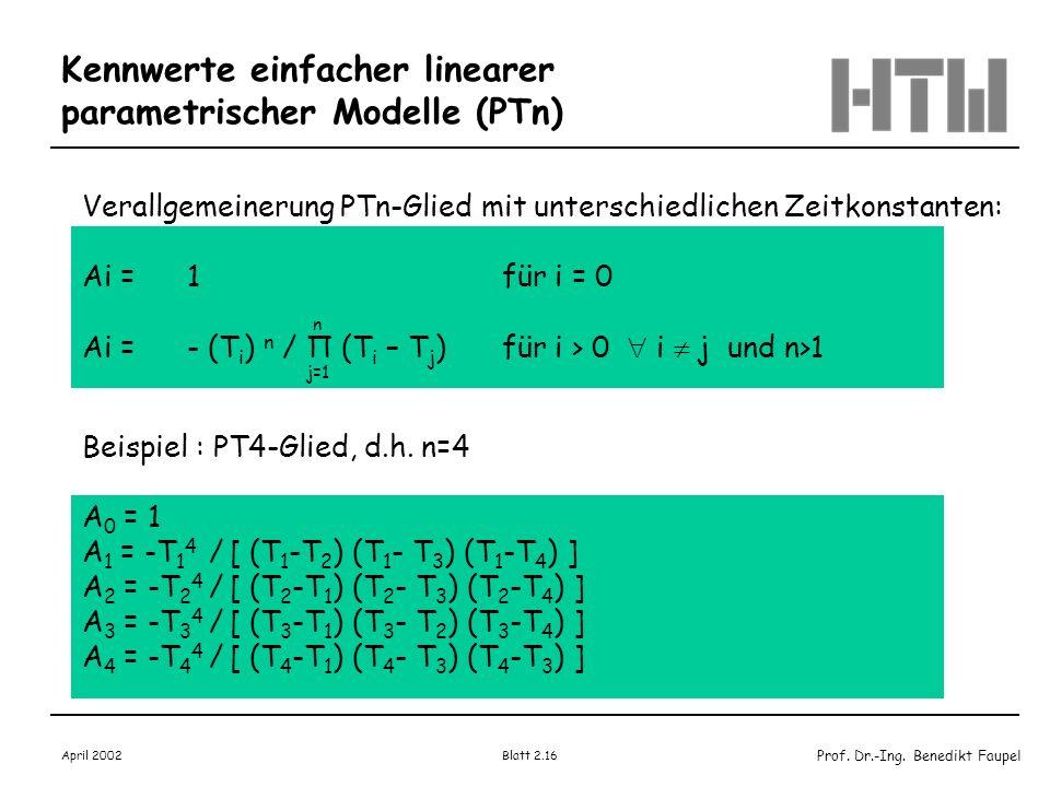 Prof. Dr.-Ing. Benedikt Faupel April 2002 Blatt 2.16 Verallgemeinerung PTn-Glied mit unterschiedlichen Zeitkonstanten: Ai = 1 für i = 0 Ai = - (T i )