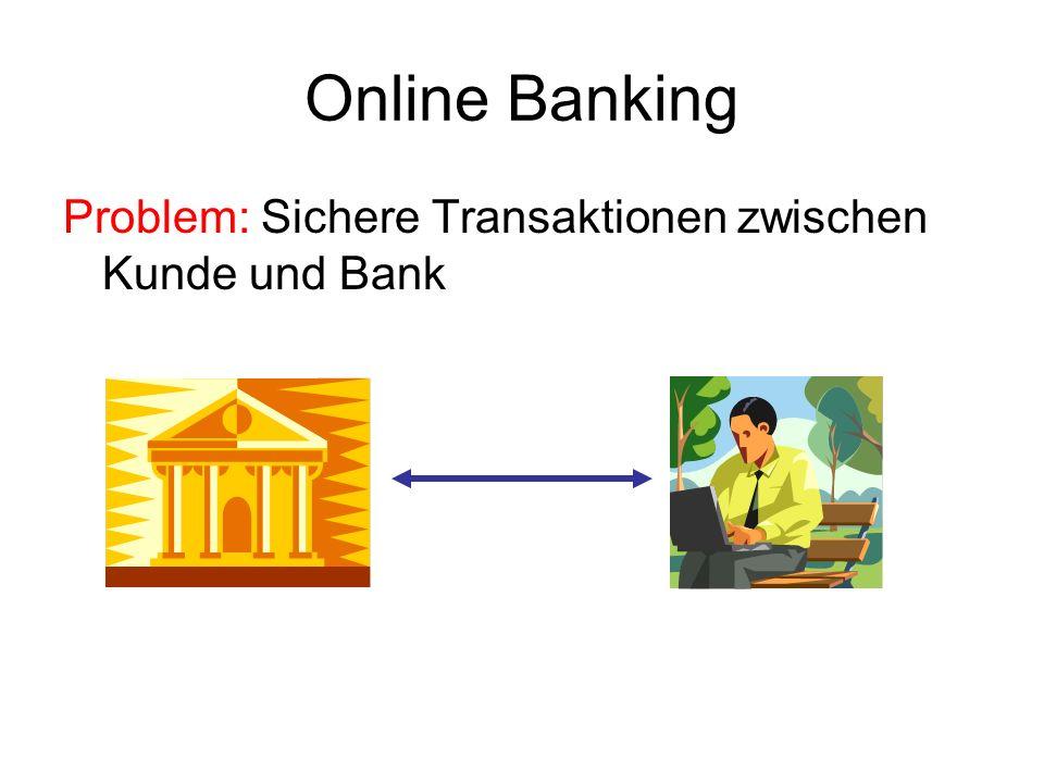 Online Banking Umsetzung in Subjects-Umgebung: Probleme: R kommt nicht von Bank R wird durch Gegner abgefangen R Öffentliche Identität (TAN) Bank Kunde R