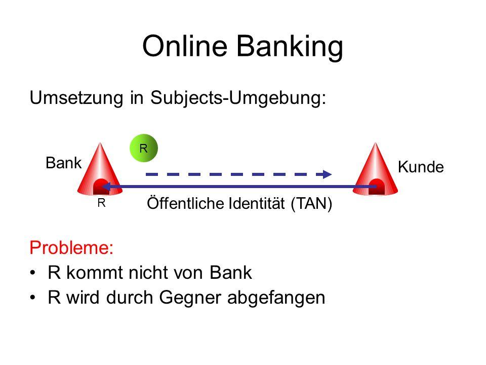 Online Banking Probleme: R kommt nicht von Bank R wird durch Gegner abgefangen Verwende sicheren Offline-Transfer (persönliche Abholung, Brief) Weitere Probleme: Phishing Attacken auf Kunde Kunde möchte von beliebigem Rechner Zugriff