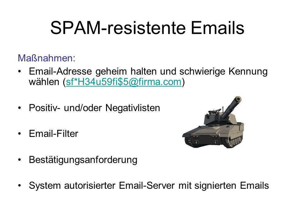 SPAM-resistente Emails Einsichten: Grundlegendes Problem: ungenehmigte Emails Genehmigung muss an Absender und nicht an Emails geknüpft sein Genehmigungen müssen zurücknehmbar sein Die Identität des Absenders (und des Adressaten) darf nicht transferierbar sein.