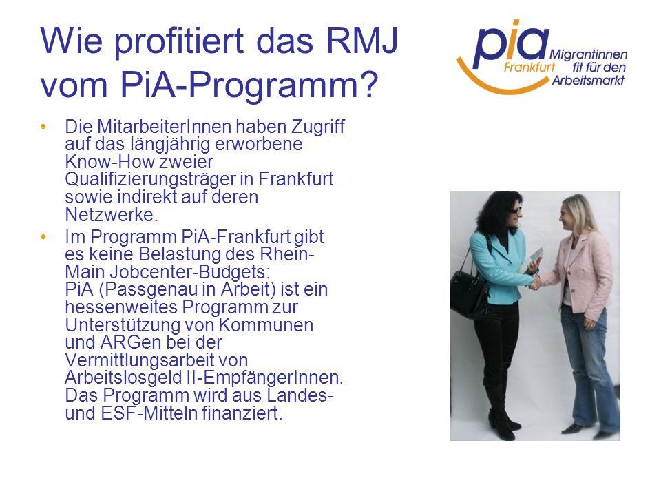 Wie profitiert das RMJ vom PiA-Programm Das PiA-Programm übernimmt Fahrtkosten für die Teilnehmerinnen an den Assessmentwochen und an den Qualifizierungsmodulen.