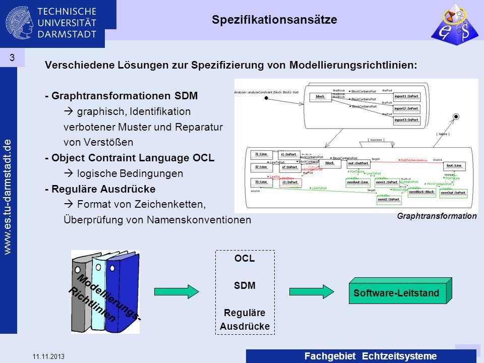 11.11.2013 www.es.tu-darmstadt.de Fachgebiet Echtzeitsysteme 3 Spezifikationsansätze Verschiedene Lösungen zur Spezifizierung von Modellierungsrichtli