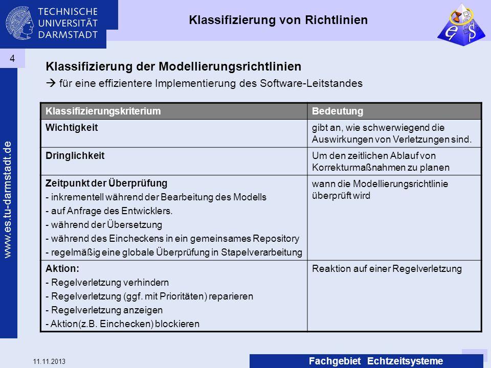 11.11.2013 www.es.tu-darmstadt.de Fachgebiet Echtzeitsysteme 4 Klassifizierung von Richtlinien Klassifizierung der Modellierungsrichtlinien für eine e