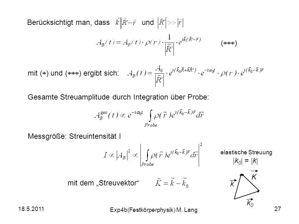 18.5.2011 Exp4b(Festkörperphysik) M. Lang 27 Berücksichtigt man, dass und Gesamte Streuamplitude durch Integration über Probe: Messgröße: Streuintensi
