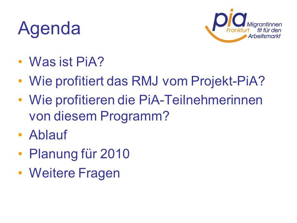 Agenda Was ist PiA? Wie profitiert das RMJ vom Projekt-PiA? Wie profitieren die PiA-Teilnehmerinnen von diesem Programm? Ablauf Planung für 2010 Weite