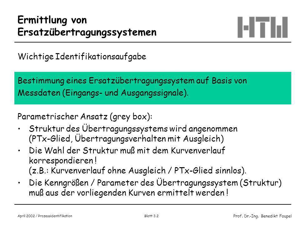 Prof. Dr.-Ing. Benedikt Faupel April 2002 / Prozessidentifikation Blatt 3.1 Vorlesung Prozessidentifikation Bestimmung von Ersatzsystemen zur Identifi