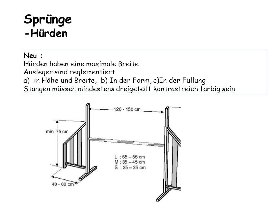Sprünge -Hürden Neu : Hürden haben eine maximale Breite Ausleger sind reglementiert a)in Höhe und Breite, b) In der Form, c)In der Füllung Stangen müs