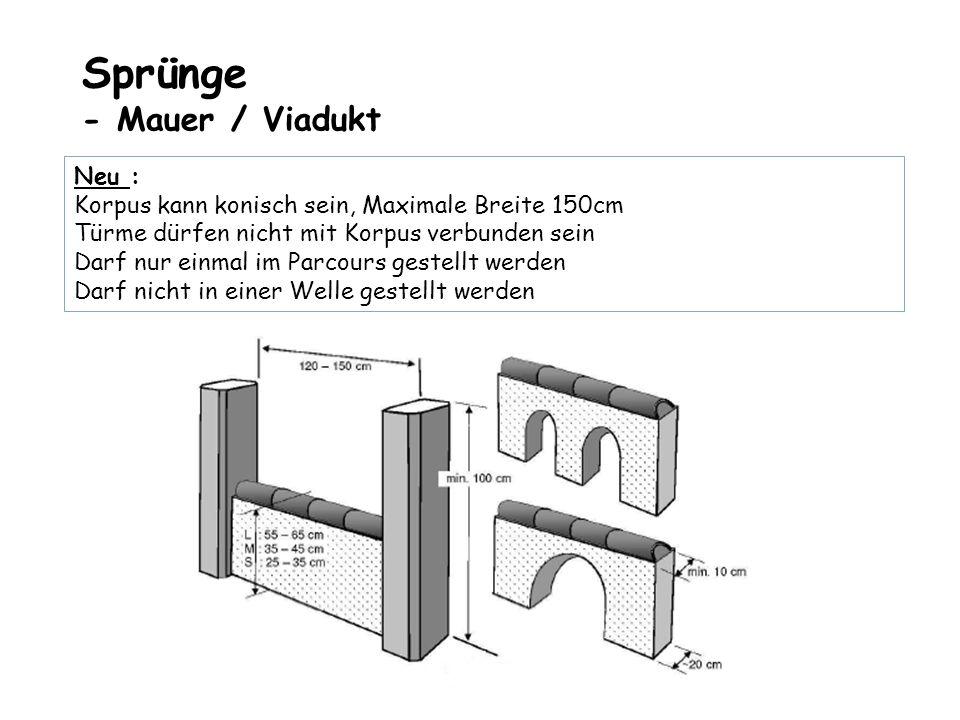 Sprünge - Mauer / Viadukt Neu : Korpus kann konisch sein, Maximale Breite 150cm Türme dürfen nicht mit Korpus verbunden sein Darf nur einmal im Parcou