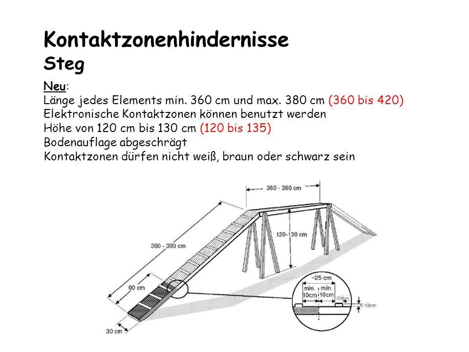 Kontaktzonenhindernisse Wippe Neu : Maße 360 bis 380cm (365 bis 420) Kein Höhen-Längenverhältnis von 1/6 mehr Bockhöhe 60 cm Neuer Kipppunkt, 1kg auf die Mitte der kippenden Kontaktzone Kontaktzonen dürfen nicht weiß, braun oder schwarz sein