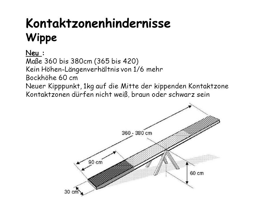 Kontaktzonenhindernisse Wippe Neu : Maße 360 bis 380cm (365 bis 420) Kein Höhen-Längenverhältnis von 1/6 mehr Bockhöhe 60 cm Neuer Kipppunkt, 1kg auf