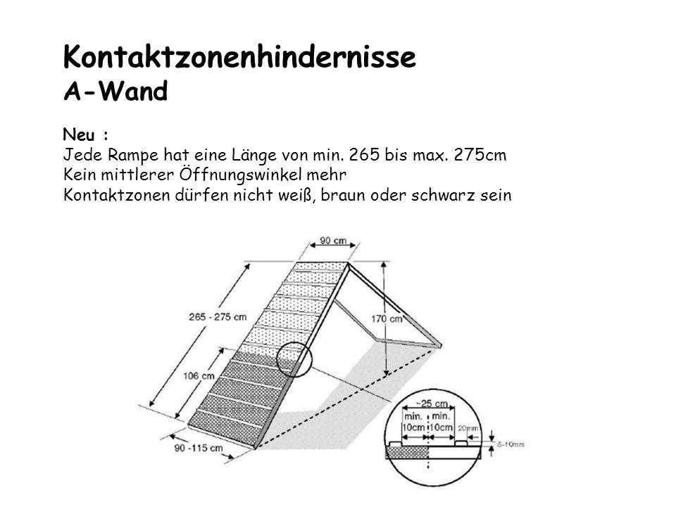Kontaktzonenhindernisse A-Wand Neu : Jede Rampe hat eine Länge von min. 265 bis max. 275cm Kein mittlerer Öffnungswinkel mehr Kontaktzonen dürfen nich