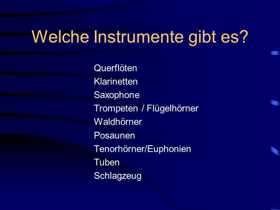 Instrumente in der Bläserklasse neue Markeninstrumente sperrige Instrumente Schlagzeug) stehen u.U. im Proberaum zusätzlich zur Verfügung, so dass der