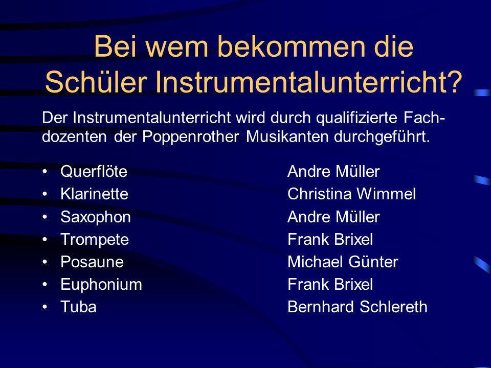 Welche Instrumente gibt es? Querflöten Klarinetten Saxophone Trompeten / Flügelhörner Waldhörner Posaunen Tenorhörner/Euphonien Tuben Schlagzeug