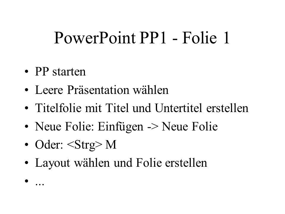 PowerPoint PP1 - Folie 1 PP starten Leere Präsentation wählen Titelfolie mit Titel und Untertitel erstellen Neue Folie: Einfügen -> Neue Folie Oder: M