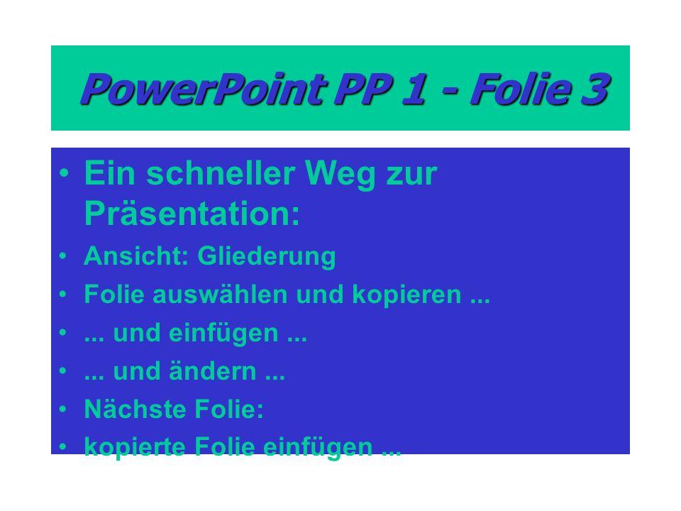 PowerPoint PP 1 - Folie 3 Ein schneller Weg zur Präsentation: Ansicht: Gliederung Folie auswählen und kopieren...... und einfügen...... und ändern...